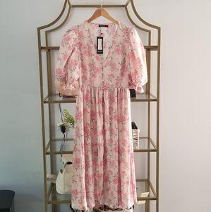 Puff Sleeved Midi Dress